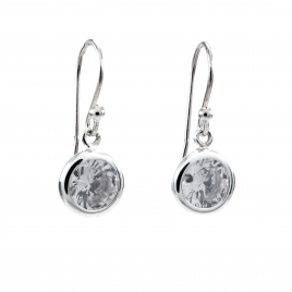 Round silver CZ drop earring