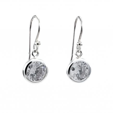 Round silver CZ drop earring