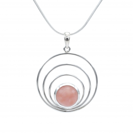 Concentric silver circles pendant with pink opal