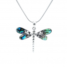 Abalone silver dragonfly pendant