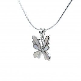 Mother of pearl butterfly silver pendant