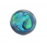 Abalone shell round silver ring
