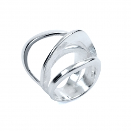 Four band wave silver ring
