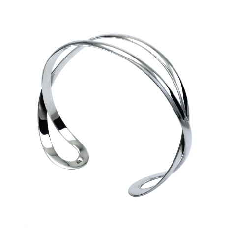 Polished silver double bangle