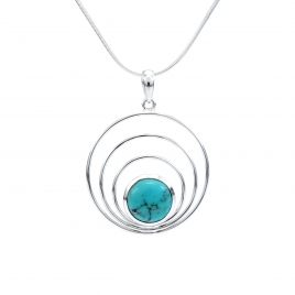 Concentric silver circles pendant with turquoise