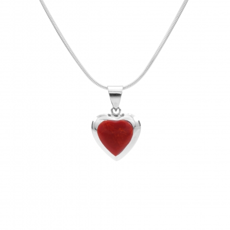 Red heart silver pendant