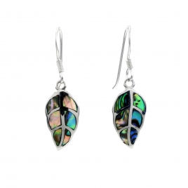 Abalone leaf silver hanging earrings