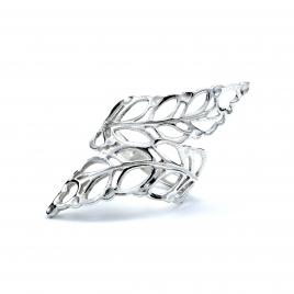 Stencil leaf wrap around silver ring