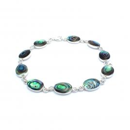 Oval abalone shell silver bracelet