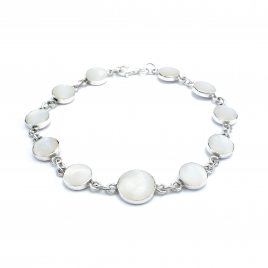 Mother of pearl circles silver bracelet