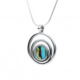 Abalone circles silver pendant