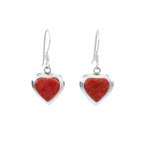 Red heart silver hanging earrings
