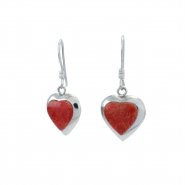 Red heart silver hanging earrings