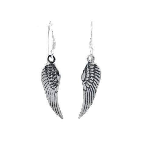 Angel wing silver hanging earrings