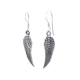 Angel wing silver hanging earrings