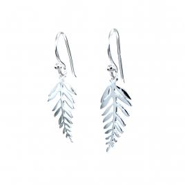 Silver leaf hanging earrings