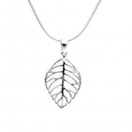 Silver stencil leaf pendant