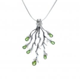 Cut peridot silver fork pendant