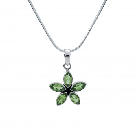 Cut peridot stone silver flower pendant