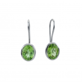 Peridot silver oval hanging earrings