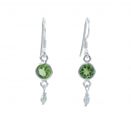 CZ and and seed pearl silver hanging earring