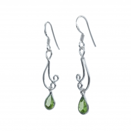Peridot filigree long silver earrings