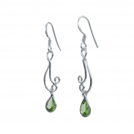 Peridot filigree long silver earrings
