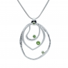 Peridot three rings silver pendant