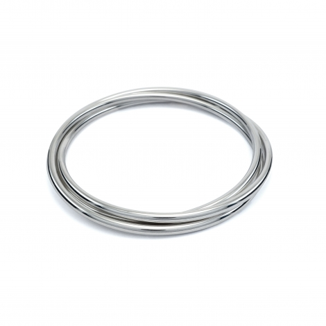 Triple round silver bangle
