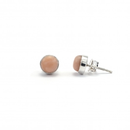Polished pink opal silver stud earrings