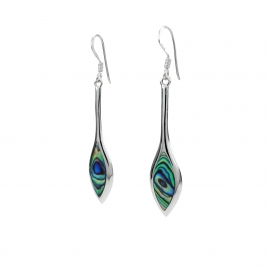 Long abalone shell silver hanging earrings