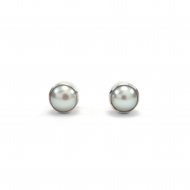 White pearl silver stud earrings