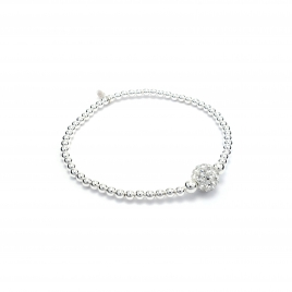 Silver balls bracelet with clear crystal ball