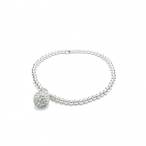 Silver balls bracelet with clear crystal ball charm