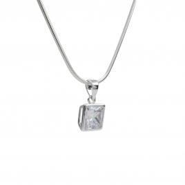 CZ square silver pendant