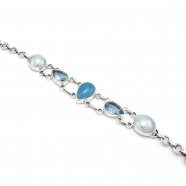Blue chalcedony, pearl and cut blue topaz silver bracelet