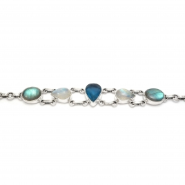 Appetite, labradorite and moonstone silver bracelet