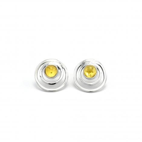 Amber silver circles stud earrings