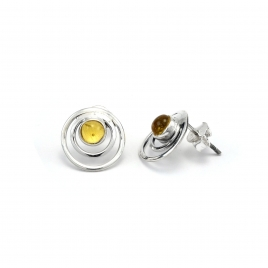 Amber silver circles stud earrings