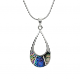 Abalone oval silver pendant