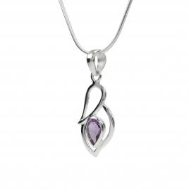 Cut amethyst silver pendant