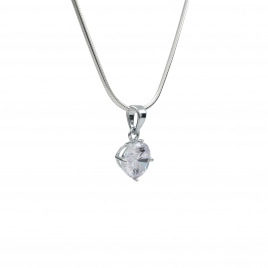 CZ round silver pendant