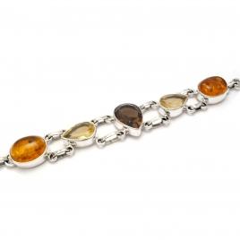 Smokey quartz, citrine and amber silver bracelet