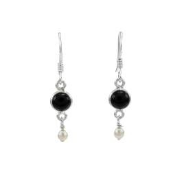 Onyx and seed pearl silver hanging earring