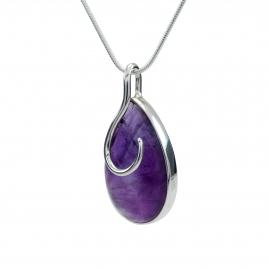 Amethyst silver swirl pendant
