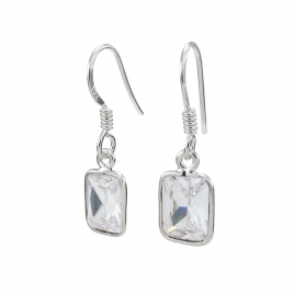 Rectangle CZ silver hanging earring