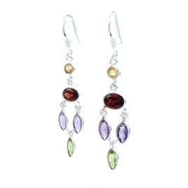 Multi-coloured silver hanging earrings