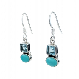 Blue topaz and turquoise silver hanging earrings
