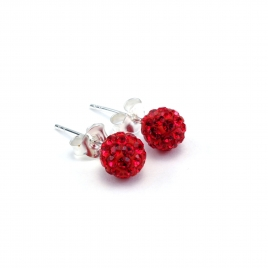 Red crystal disco ball stud