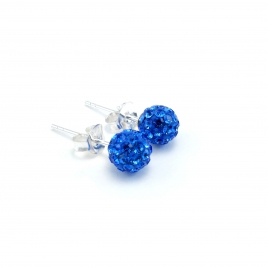 Bright blue crystal disco ball stud earrings